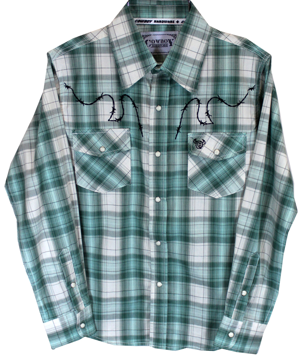 Green Plaid w/Barbed Wire Long Sleeve
