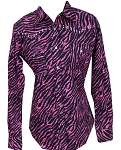 Cowgirl Hardware Pink Zebra Stripe Long Sleeve Snap