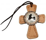 Tie on Leather Cross w/Silver Barrel Racer Concho