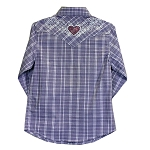 Heart w/Bling Back, Purple Plaid Long Sleeve