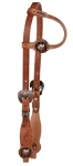 Harness Leather One Ear Headstall with Copper Berry Concho