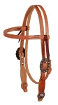 Harness Leather Browband Headstall with Copper Buckle and Cross Concho