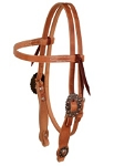 Harness Leather, Browband Headstall with Copper Buckle and Berry Concho