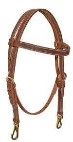 Harness leather browband headstall with snaps