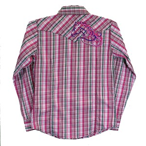 Cowgirl Hardware Pink Plaid Long Sleeve Snap with Embroidered/Bling Horsehead