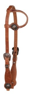 Harness Leather, One Ear Headstall w/Cross Concho